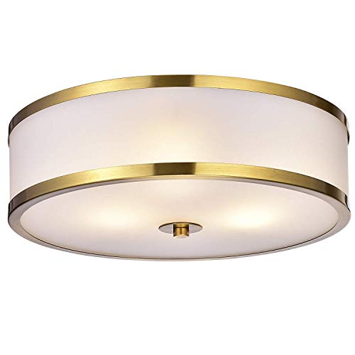 Jojospring Blanca Metallic Gold with Glass Drum Shade 3-Light Flush-Mount Fixture ()