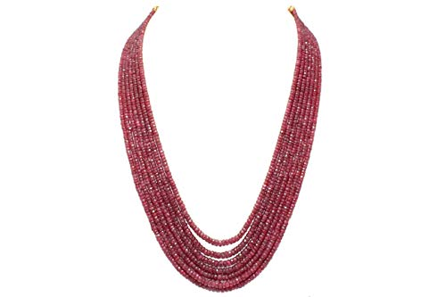 PH Artistic Red Ruby Faceted Treated Beads Stones Necklace 7 Lines 565 Carats (Mala Beads Ruby)