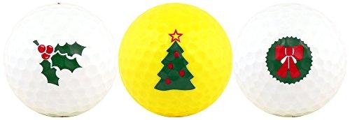 (Christmas w/ Holly, Tree & Wreath Golf Ball Gift Set)