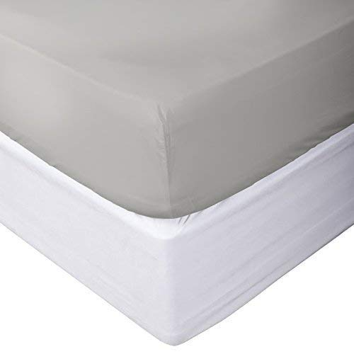 1 PC Fitted Sheet (Bottom Sheet Only) Fit Upto 20'' inches Deep Pocket 800 Thread Count Egyptian Quality Cotton Solid (King, Silver Grey). by Contour Sheet