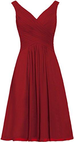 Les Réservoirs De Fourmis Femmes Bretelles Robes De Demoiselle D'honneur Robe De Bal Courte En Mousseline De Soie Rouge Foncé