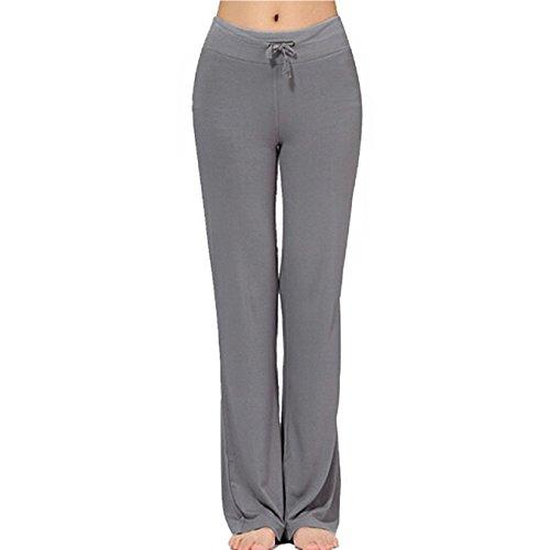 Women's Long Modal Comfy Drawstring Trousers (L, Dark -