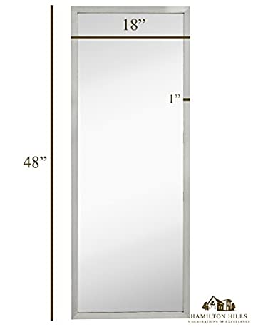 Commercial Restroom Full Length Wall Mirror Contemporary Industrial Strength Brushed Metal Silver Rectangle Mirrored Glass Vanity, Bedroom or Restroom Horizontal Vertical 18 x 48