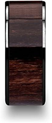 Thorsten Kendo Black Ceramic Polished Finish Ring Wedding Band with Black Walnut Wood Inlay 10mm from Roy Rose Jewelry