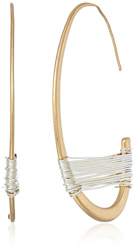 Robert Lee Morris Women's Bound to Basics Two Tone Wire Wrapped Half Hoop Earrings (Tone Hoop Half Two)