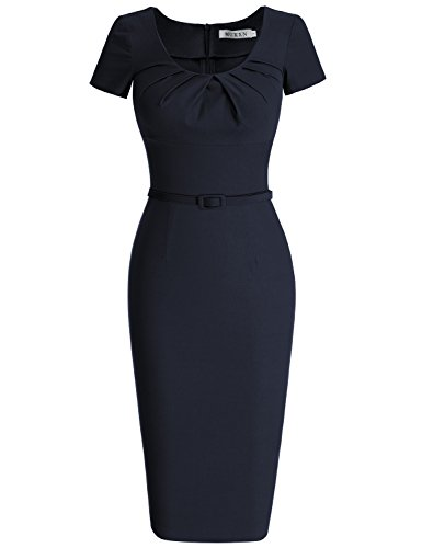 MUXXN Women's 1950s Vintage Short Sleeve Pleated Pencil Dress(M,Blue)