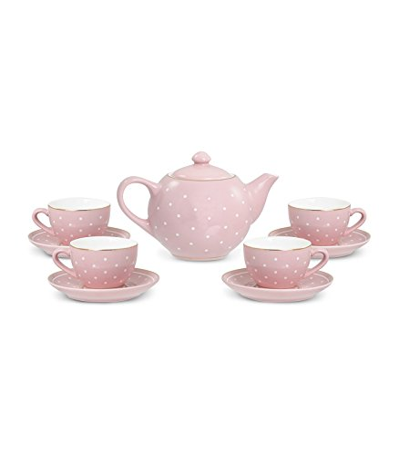 FAO Schwarz 1002763 9Piece Ceramic Tea Party for Kids Pink Polka Dot Play Imaginative - China Tea Party