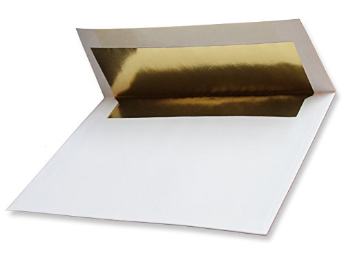 Gold Foil-Lined A2 White Envelopes 100 Boxed for 4-1/8 X 5-1/2 Wedding Enclosures Response Cards from The Envelope Gallery