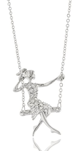 [Silvertone with Clear Stones Cartoon Girl on a Swing Pendant 17 Inch Adjustable Link Necklace (B-2326)] (Girl On A Swing)