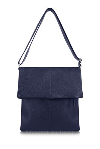 Luxury Shoulder Jinne Italian Cross Women Over Large Bag 100 Body Fold Di for Leather Gift Real Navy Montte ORn5Ugzqx