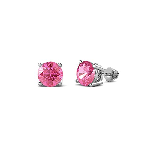 (TriJewels Pink Tourmaline Four Prong Solitaire Womens Stud Earrings 0.80 ctw in 14K White Gold)