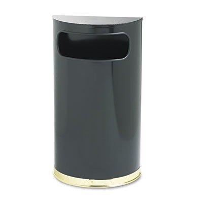 Fire Safe Half Round Container - Rubbermaid Commercial European & Metallic Series Receptacle, Half-Round, 9Gal, Black/Brass