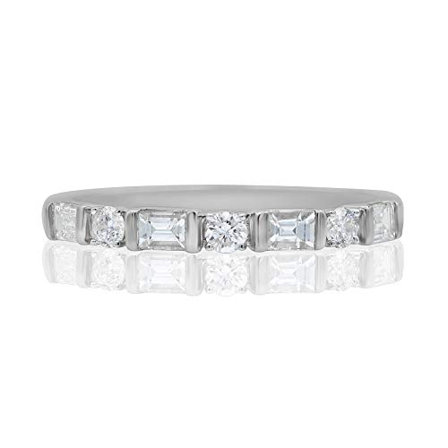 1/2 Carat Natural Diamond Ring 10K White Gold Round-Cut (H-I Color, I2 Clarity) and Baguette-Cut (G-H Color, I1-I2 Clarity) Diamond Ring for Women Diamond Jewelry Gifts for Women, US Size 5