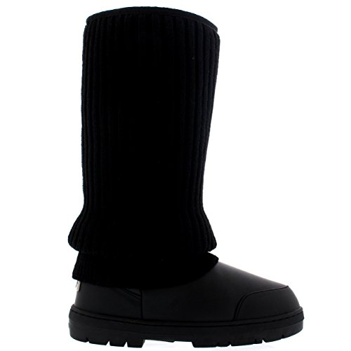 Womens Tall Knitted Cardy Slouch Winter Snow Rain Outdoor Warm Shoe Boots Black Leather EXSiweQ7