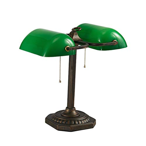 YE ZI Decorative Lighting Table lamp Table Lamp, Traditional Banker Lamp Double Head, Emerald Green Glass Lampshade, Hardware Base, Rope Switch (E27) Reading Desk Lamp with lampshade (Emerald Green Rope)