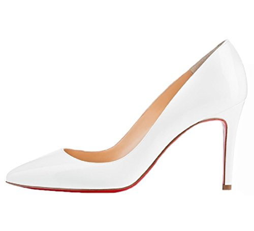 Blanc Rouge Pumps Femmes Mariage Toe Stiletto Pointed HooH Semelle OxqUwZH7nP