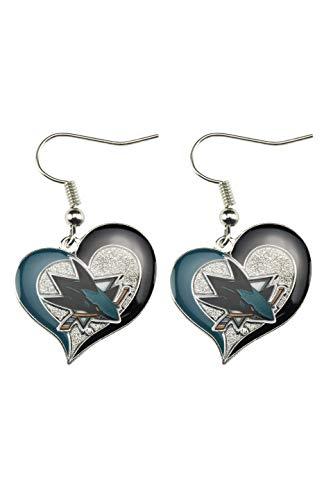 NHL San Jose Sharks Swirl Heart Earrings