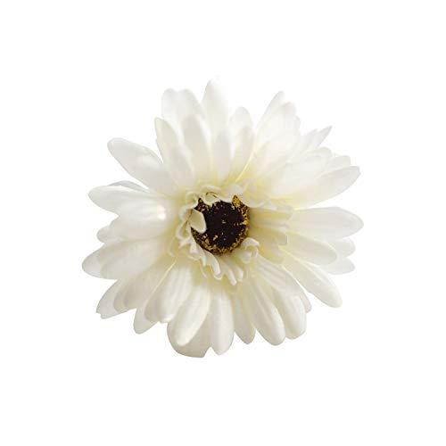 Small Basketball 55cm Wreath Mini Head Fake Flower Artificial Flower Daisies Sunflower 20 Colors Handmade Flower Bouquet for Wedding Decorations,Milk White