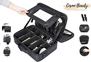 """"""" Cosmo Beauty Makeup Case - Large Professional Artist 3 Layers Travel Cosmetic Case 15.8"""" with Beauty Mirror and Adjustable Dividers, Perfect for Makeup Brushes, Jewelries, and Toiletries """" from Cosmo Beauty"""