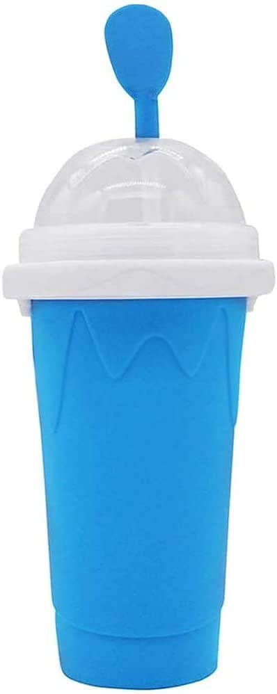 Slushie Maker Cup, TIK TOK Magic Quick Frozen Smoothies Cup Cooling Cup Double Layer Squeeze Cup Slushy Maker, Homemade Milk Shake Ice Cream Maker DIY it for Children and Family (1 PC BLUE)