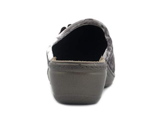 Ly41 Grigio Ciabatta 4 pantofola Inblu Cm Donna In Velluto Zeppa 1pzHq4xv