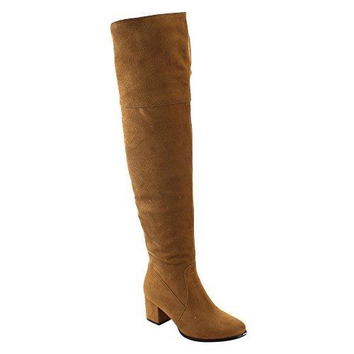 Nature Breeze Women's FF00 Over The Knee Mid High Block Heel Boots, Tan 10
