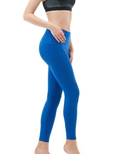(TSLA TM-FYP52-BLU_Medium Yoga Pants High-Waist Tummy Control w Hidden Pocket)
