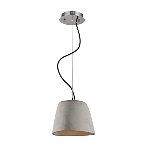 Elk Lighting LC201-140-15 Triangle Small Single Lamp Concrete Pendant with Chrome Hardware