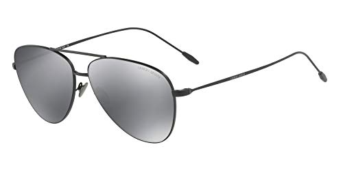 Giorgio Armani Man Sunglasses, Black Lenses Steel Frame, 58mm