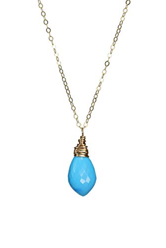 Turquoise Gemstone Drop Pendant Necklace- Gold - 18