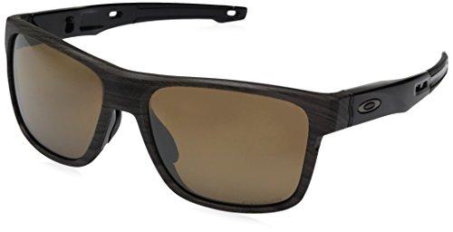 Oakley Men's Crossrange Polarized Iridium Square Sunglasses, WOODGRAIN, 57 ()