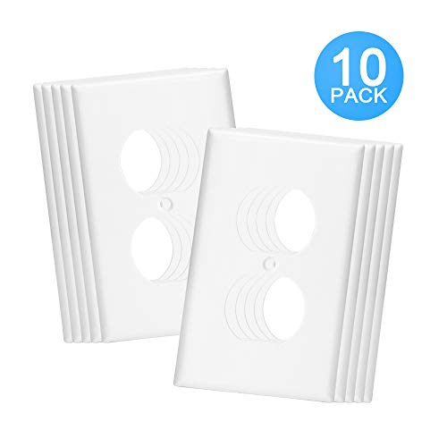 OMEENET Duplex Receptacle Outlet Wall Plate, 9602-1 Standard Size 1-Gang, Bright White (10 Pack)
