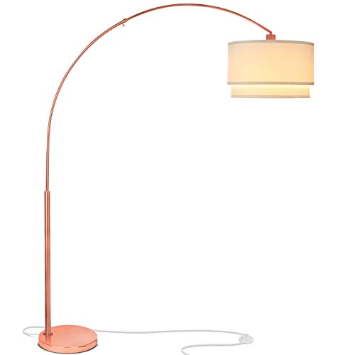 Brightech Mason LED Arc Floor Lamp - Living Room Pole Lighting - Modern, Tall Standing Hanging Light Fits Behind the Couch Or In A Corner - Rose Gold