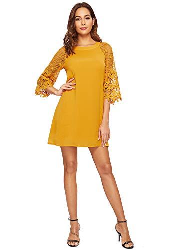 MAKEMECHIC Women's Casual Crewneck Half Sleeve Summer Chiffon Tunic Dress Yellow L