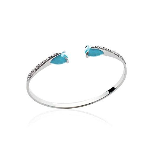 MARY JANE - Bracelet Argent Femme - Diam:58cm / Larg:58cm - Argent 925/000 rhodié-Pierre synthétique-Zirconium (Jonc / Rigide)