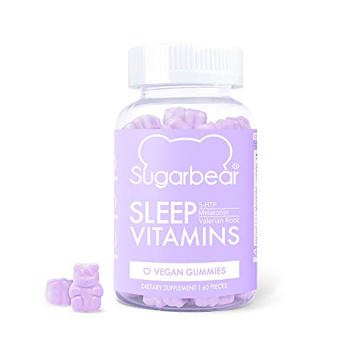 SugarBear Sleep, Vegan Gummy Vitamins with Melatonin, 5-HTP, Magnesium, L-Theanine, Valerian Root, Lemon Balm (1 Month Supply) (Best Vitamins For Sleep)