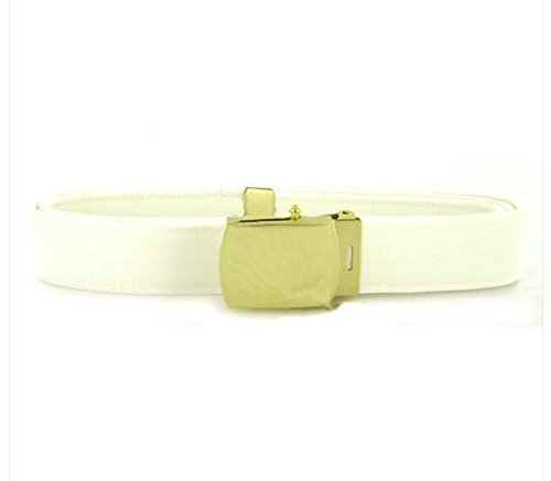 (Vanguard Navy Belt and Buckle: White CNT with 24K Gold Buckle and TIP -)