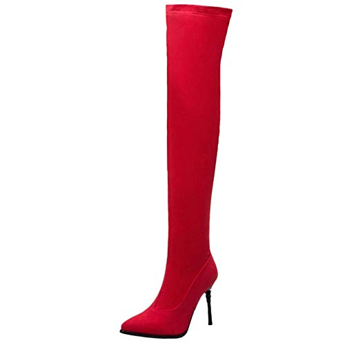 High Pull Boots The Fashion Taoffen On 4 Knee Over Red Heel Women qExH180