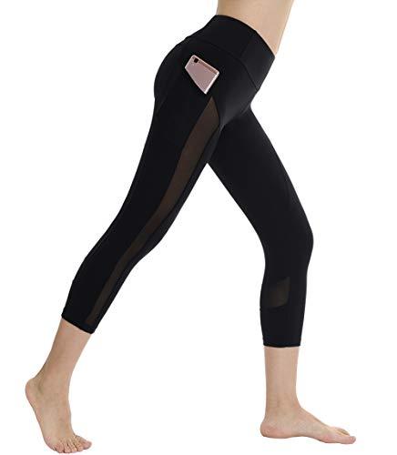 Dragon Fit High Waist Yoga Shorts Capri and Leggings with 2 Side Pockets Power Flex Workout Running Yoga Shorts 4 Way Stretch (Medium, Black-Mesh - Capri Mesh Shorts