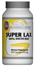 Grandma's Herbs SUPER LAX Most Effective Natural Mild Herbal Laxative with Cascara Sagrada - 100 Capsules