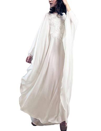 (Bsubseach White Chiffon Plus Size Long Sleeve Kaftan Dress Women See Through Turkish Beach Swimwear Cover Up)