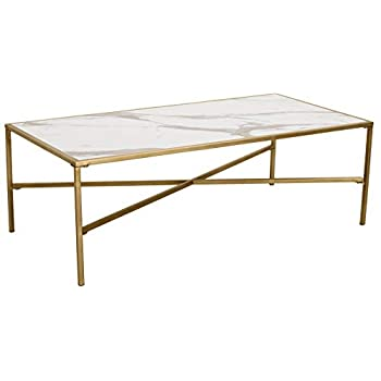 "Ravenna Home Parker Coffee Table, 47.2""W, Marble & Gold"