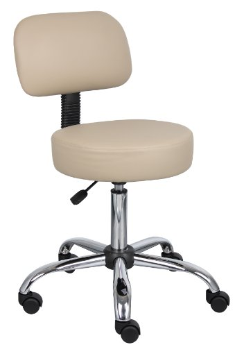 Boss Office Products B245-BG Be Well Medical Spa Stool with Back in Beige by Boss Office Products