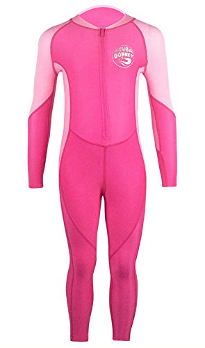 SCUBA DONKEY Big Girls One Piece Swimwear Durable Lightweight Long Sleeve Front Zipper Up Swimsuit for Kayking 8-9T Pink