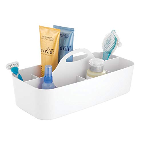 (mDesign Plastic Portable Storage Organizer Caddy Tote - Divided Basket Bin with Handle for Bathroom, Dorm Room - Holds Hand Soap, Body Wash, Shampoo, Conditioner, Lotion - Extra Large - White)