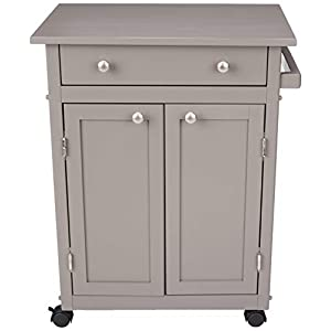 Amazon Basics Classic Solid Rubber Wood Kitchen Cart with Cabinet Rustic Grey