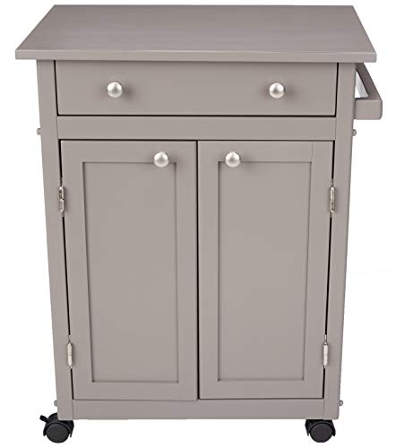 AmazonBasics Classic Solid Rubber Wood Kitchen Cart with Cabinet Rustic Grey ()