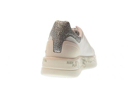 PREMIATA Shoes Woman Low Sneakers with Platform Belle 3014 White / Silver 3LDtP9KU