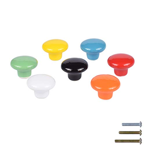 Ceramic Cabinet Knobs Colorful Cute Kitchen Drawer Cupboard Dresser Wardrobe Door Knobs and Pull Handles with 3 Kinds of Screws - Set of 7