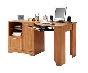 Realspace Magellan Collection Corner Desk, Honey Maple